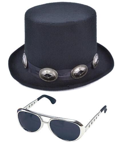 Gli adulti anni 1980 Rocker Stile Top Hat con Rock N Roll Occhiali Costume Set