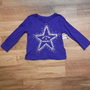 Girls-Royal-Blue-Long-Sleeve-Tee-Shirt-Toddler-size-12-18-months-Old-Navy-new