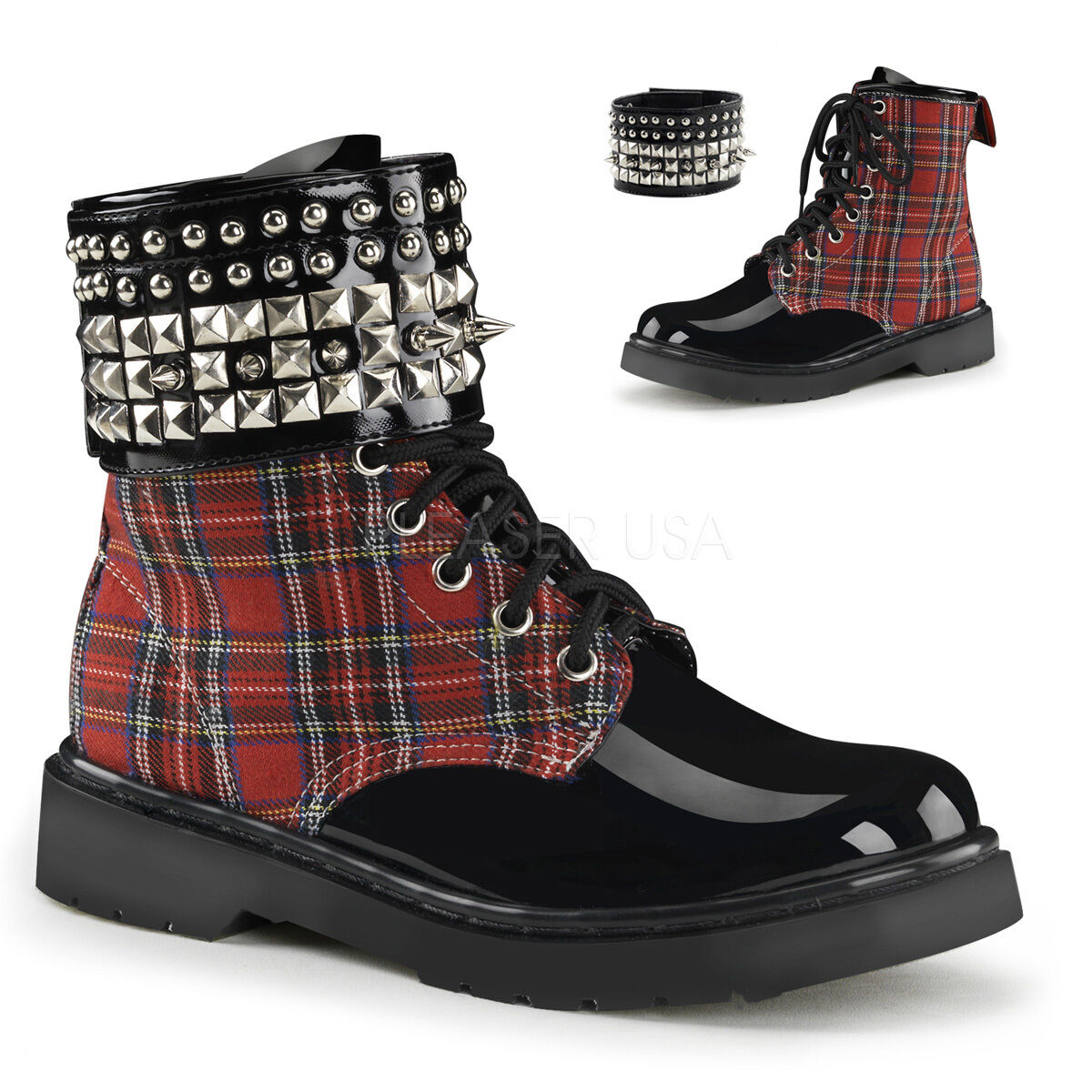 SALE DEMONIA Womens Combat Red Plaid Ankle Boots Detachable Spiked Ankle Band