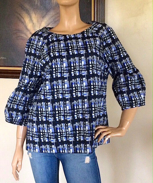 Calvin Klein Multi-Color Patterned Jacquard Raglan Puff Sleeve Blouse NWT Size L