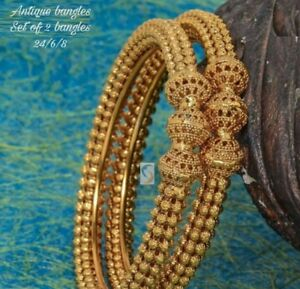 Fashion Jewelry Bracelets Indian Antique Bollywood Polki 2 pc Gold Plated Ball Bangle Bracelet Jewelry