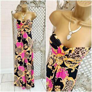 Style 💋 New Bright Floral Animal Print Slinky Stretch Strapless Maxi Dress UK M