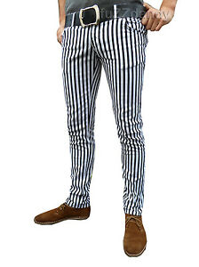 Mens-Drainpipes-trousers-jeans-vtg-60s-indie-mod-pin-stripe-white-black-hipsters