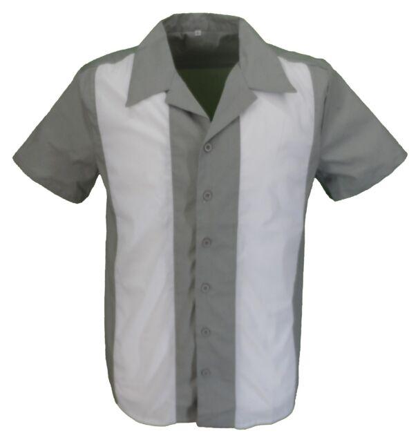 Retro Grey/White Rockabilly Bowling Shirts
