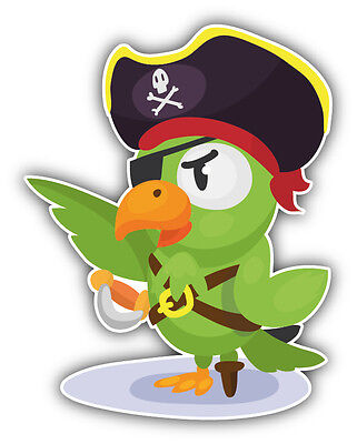 Parrot Pirate Cartoon Car Bumper Sticker Decal 3/'/' x 6/'/'
