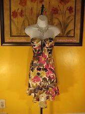 NWOT Arden B. 100% Silk Floral Asymmetric Strapless Dress Size XS
