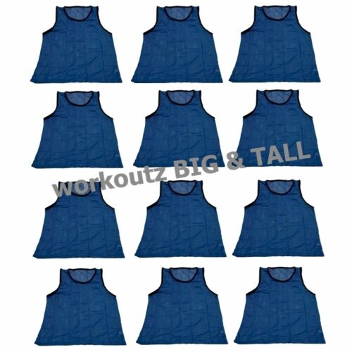 Blue Scrimmage Vests Soccer Pinnies Practice Workoutz Big And Tall Set Of 12