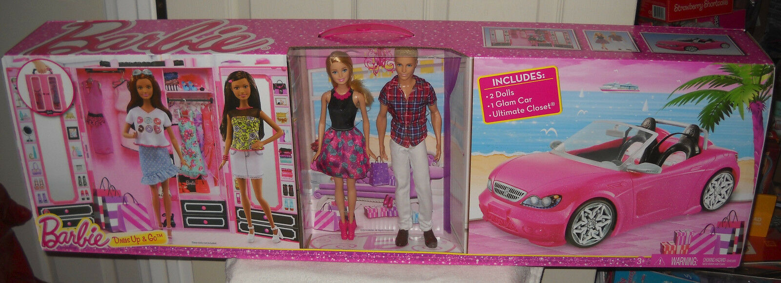 Nunca quitado de la Caja Mattel objetivo Dress Up & Go Con Barbie Y Ken, converdeible & Closet