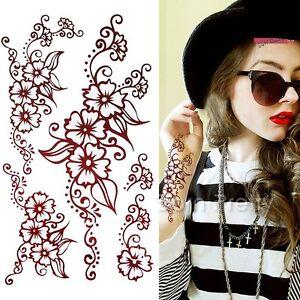 Flower Tattoo Decals Henna Art Decals Mehendi Waterproof Paper