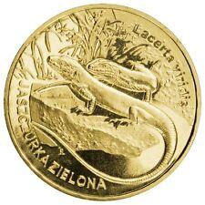 POLONIA: 2 Zl. año  2009 LAGARTO VERDE Lacerta viridis