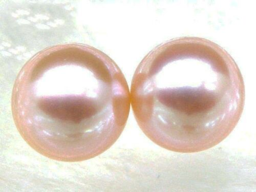 Natural 9mm AAA+ match pair perfect round loose pink akoya pearl half drilled