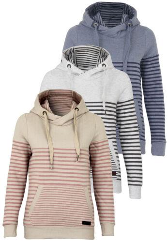 Sublevel Damen Sweatshirt mit Kapuze Langarm Pullover gestreift Outfit Freizeit