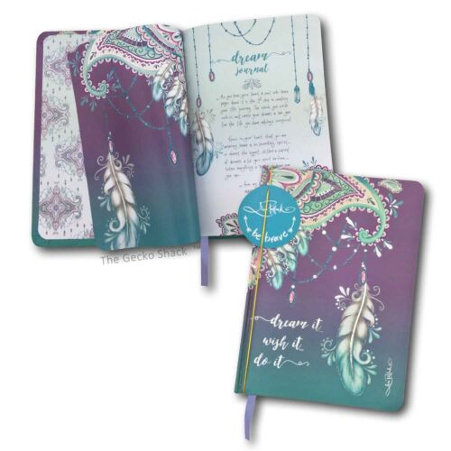Dream It Wish It Mandala Feather 100 blank pge Journal w Rose Gold Lisa Pollock