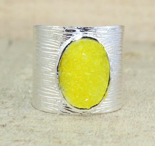 Multi-color ovale sucre DRUZY QUARTZ plaqué argent réglable Drusy Gemstone Ring