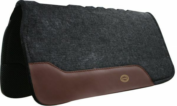 Showman Clásico gris Negro Waffle choque de flujo de aire de lana fieltro grueso cojín de silla de montar