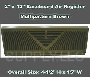 2-034-x-12-034-Baseboard-Air-Register-Multipattern-Brown-1-piece-Diffuser-w-Damper