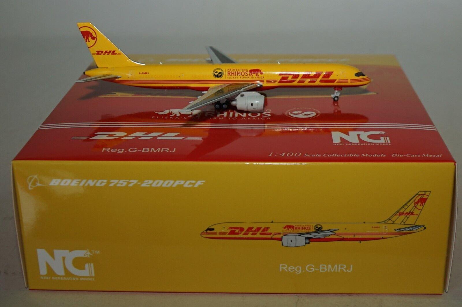 NG Model 53070 Boeing 757-236(Sf) DHL Schützt Rhinos G-Bmrj in 1 400 Maßstab