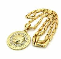 Iced Out Gold Pt Medusa Face Micro Pendant W/ 4mm/24 Bullet Chain Necklace