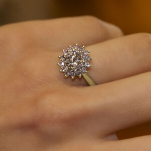 1-51-Ct-Sim-Diamond-Cluster-Engagement-Wedding-Ring-Solid-14K-Yellow-Gold