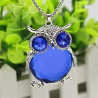 Women Owl Rhinestone Crystal Pendant Necklace Winter Long Sweater Chain Jewelry