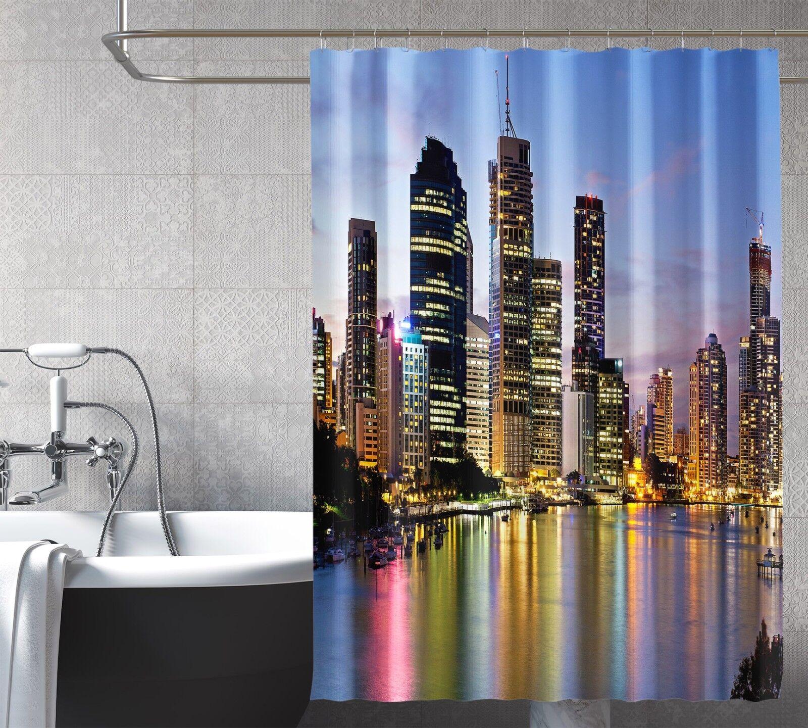 3D Night City 35 Rideau de Douche Imperméable Fibre Salle de Bain Home Windows Toilette
