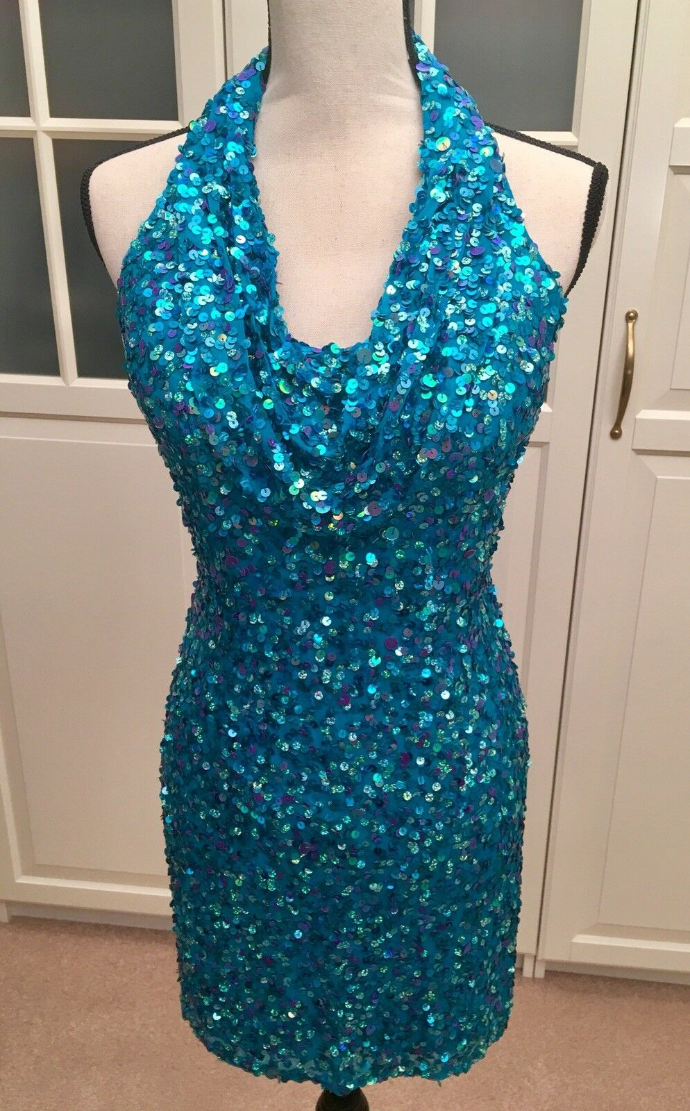 SEAN COUTURE- Sexy Teal Sequin Halter Dress - Prom formal - Size 2