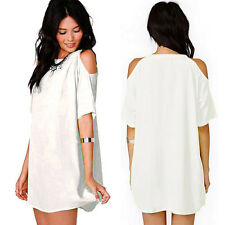 Womens Off Shoulder Mini Dress Plus Size Chiffon Baggy Tee Shirts Blouse Tops US