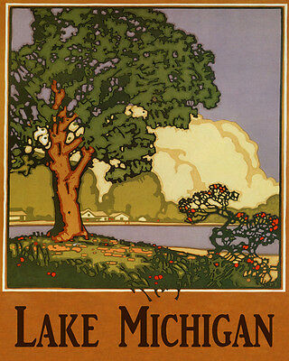 POSTER TRAVEL LAKE MICHIGAN UNITED STATES GREAT LAKES USA VINTAGE REPRO FREE S//H