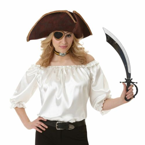Ladies Pirate Ivory Blouse Top Buccanner Wench Steampunk Fancy Dress Accessory