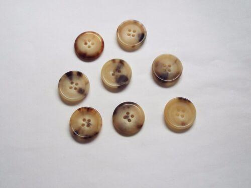 8pc 22mm Yellow Cream Faux Aged Bone Suit Coat Cardigan Knitwear Button 4669