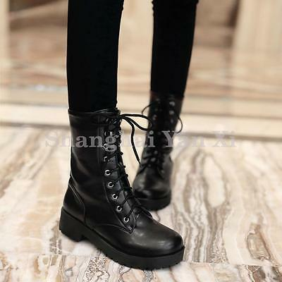 Womens Ladies Flat Ankle Boots Lace up Punk Goth Riding Military Boots Black