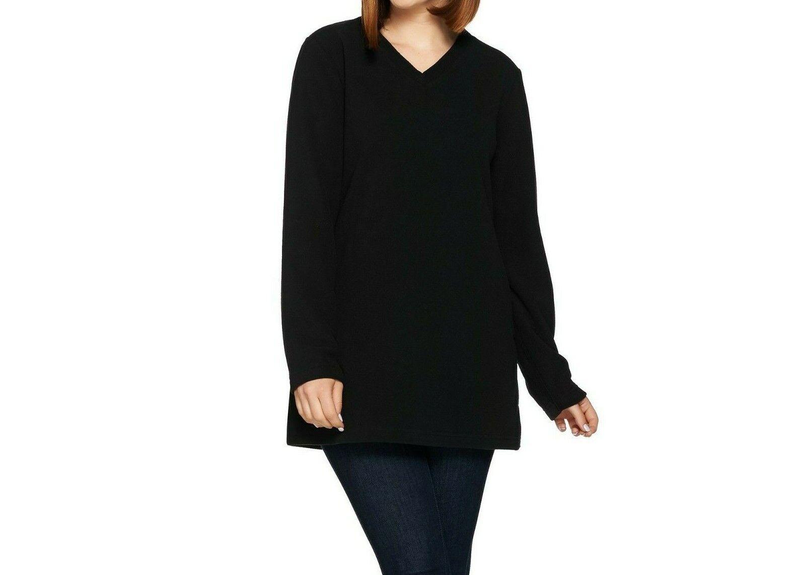 Denim Co Active V-Neck Tunic Hood Pockets Black L NEW A295727