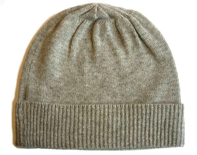 69f9d88a3c2 Heather gray grey 100% Pure cashmere Hat Ski beanie Winter Cap skull Unisex