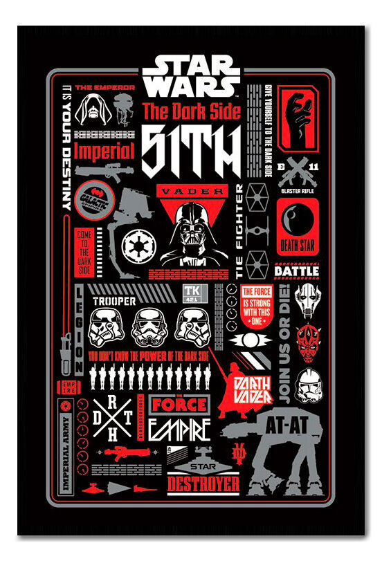 Framed Star Wars Dark Side Icon Graphic Magnetic Notice Board Includes Magnets