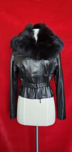 Plein Sud Black Lamb Leather With Fur Jacket Size
