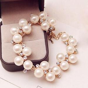 Fashion-Chain-Jewelry-Charm-Cuff-Bracelet-Pearl-Rhinestone-Crystal-Bangle