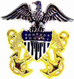 US-Navy-Officer-Cap-Badge-Pin-2-1-2-034-Metal-Captain-Admiral-Hat-Gold-amp-Silver