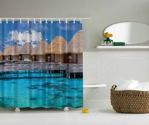 Image Is Loading Tropical Lake Tiki Digital Print Shower Curtain Paradise