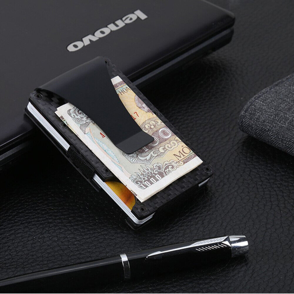 Slim RFID Blocking Money Clip Carbon Fiber Men Credit Card Holders Metal Wallet