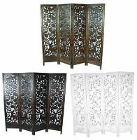 4 Panel Carved Heavy Duty Indian Stag Deer Wooden Screen Room Divider 176x184cm