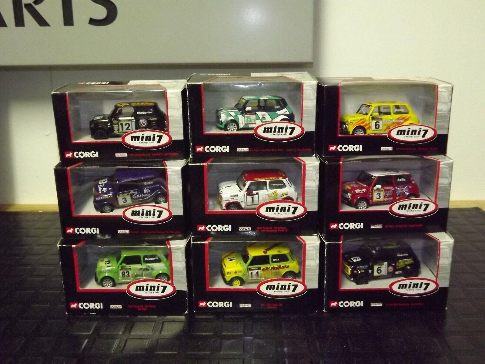 10 x KORGI - MINI 7 racing klubb - JOB massa BOXED, IDEAL FÖR KOLLECTOR