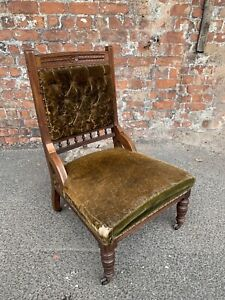 EARLY-20TH-CENTURY-ANTIQUE-CARVED-MAHOGANY-LOW-BEDROOM-CHAIR-FOR-PROJECT