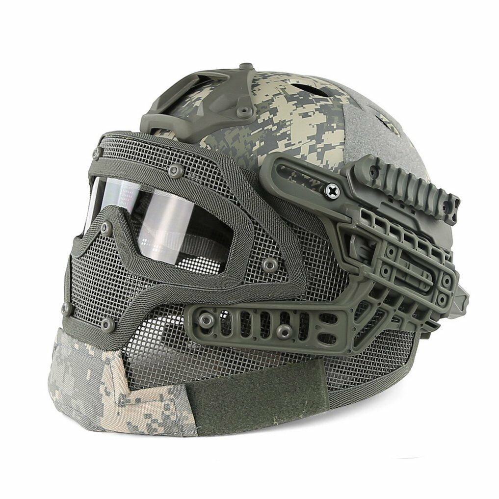 Tactical Fast Combat Helmet PJ Type with Predective Goggle and Mesh Face Mask AU