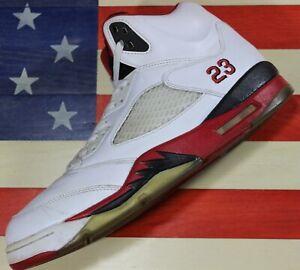 Nike-Air-Jordan-V-5-Retro-Fire-Red-White-Black-Shoe-2013-136027-120-Men-039-s-11