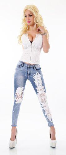 Damen High Waist Jeans Hose Röhrenjeans weiße Häkel Stickerei ausgefranst