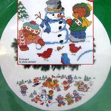 "Winter Frolic Xmas Tree Skirt Table Cover Cross Stitch Kit Teddy Bears 46"" dia."
