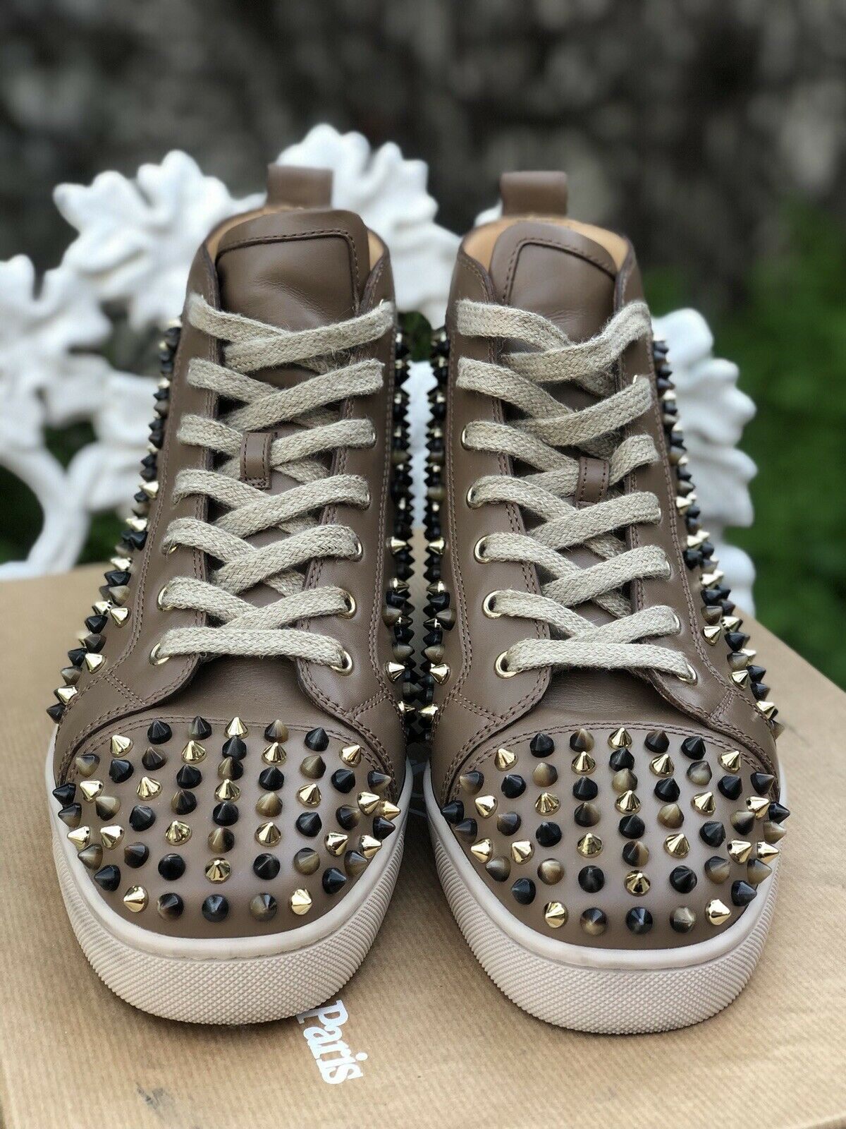 Authentic Christian Louboutin Louis Flat Calf Spikes POP Corn Sneakers 41.5