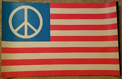 Vintage Black Light Poster Peace Flag