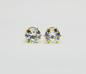 18ct-18K-Gold-Plated-Clear-Round-Cubic-Zirconia-Stud-Earrings-Men-Women-Gift