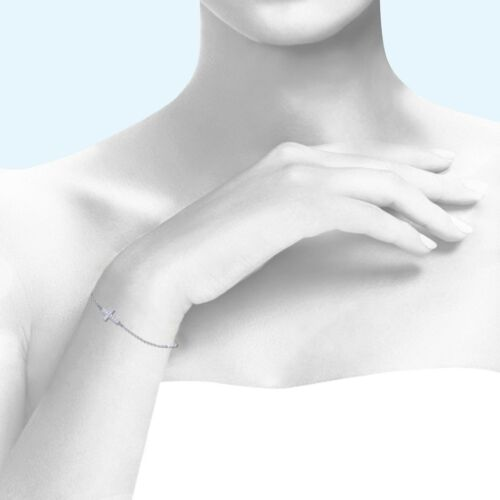 14K Solid or Blanc Zircone cubique Sideways Croix Bracelet-Charm Rolo Chain Link Femmes Hommes